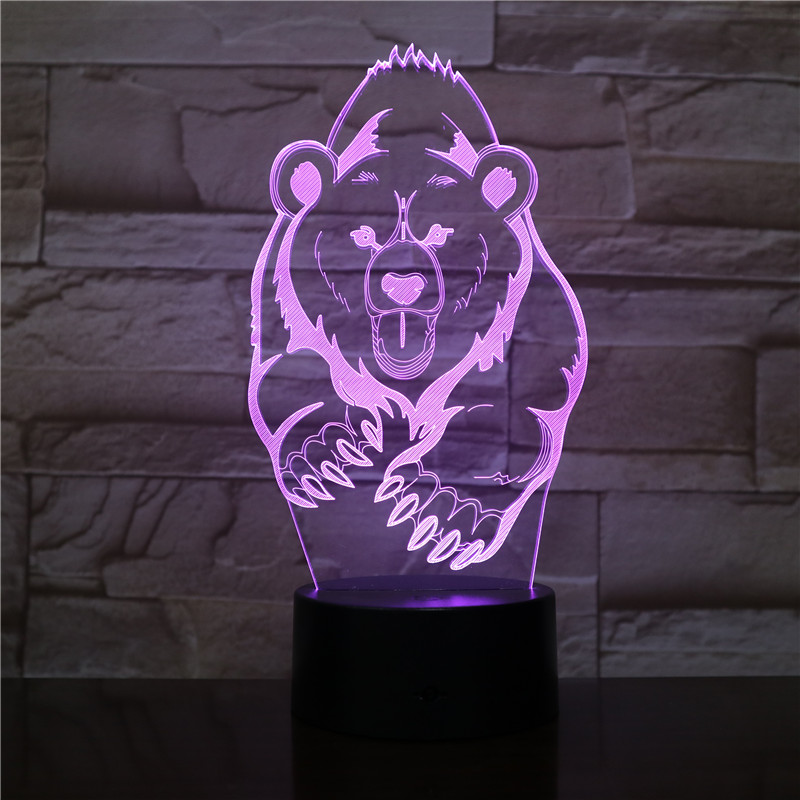 Running grizzly bear 3D LED Night Light Multicolor RGB Bedroom Decor 3d lamp for Kids Christmas Gift Toys lamp drop ship Amazon image