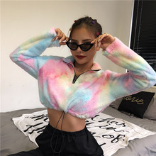 Plüsch zipper pullover streetwear sweatshirts langarm kpop kleidung 2019 herbst winter frauen casual crop top(China)
