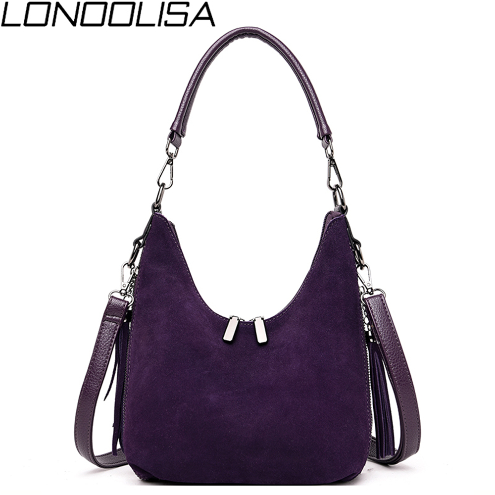 New High Quality Ladies Suede Leather Hand Bags Luxury handbags Women Bags Designer Elegant Tassel Crossbody Bags For Women 2019