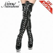 Обувь на высоком каблуке 6 дюймов; Сапоги выше колена платформе