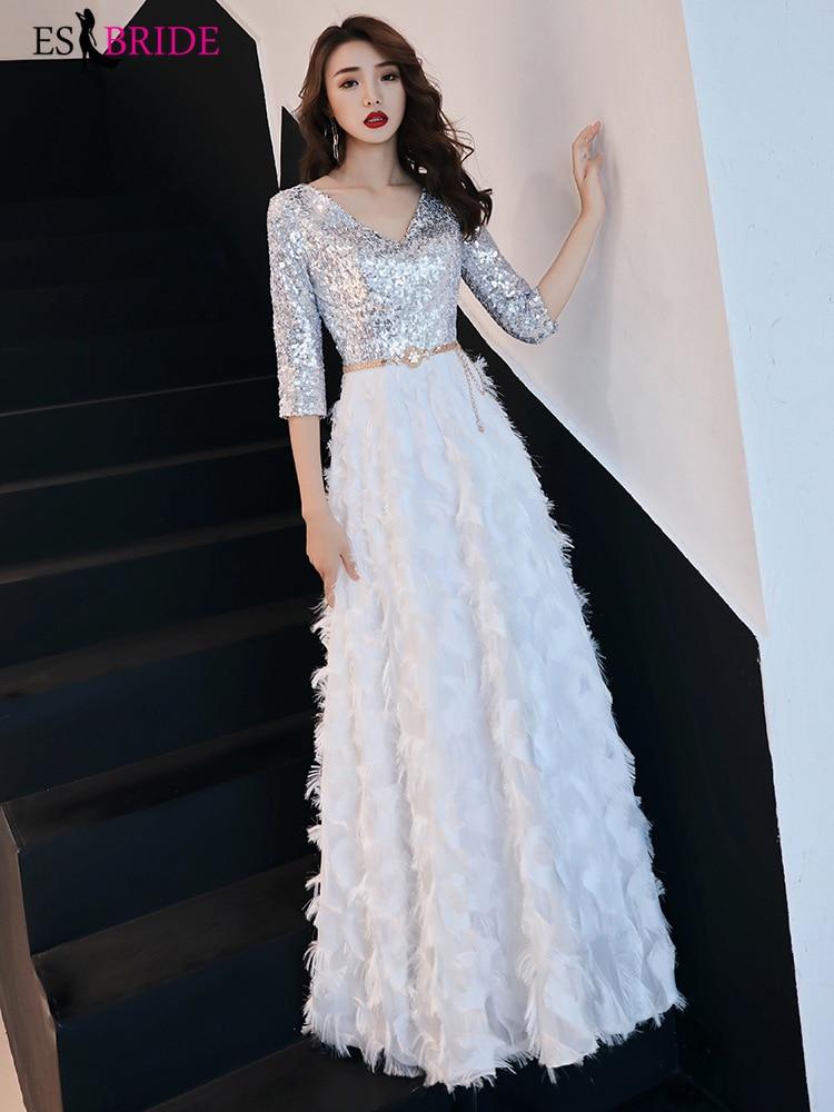 ES2728 New Arrival 2019 V Neck Ivory Long Evening Dress Party Elegant Vestido De Festa Vintage Prom Gowns Formal Dress Women