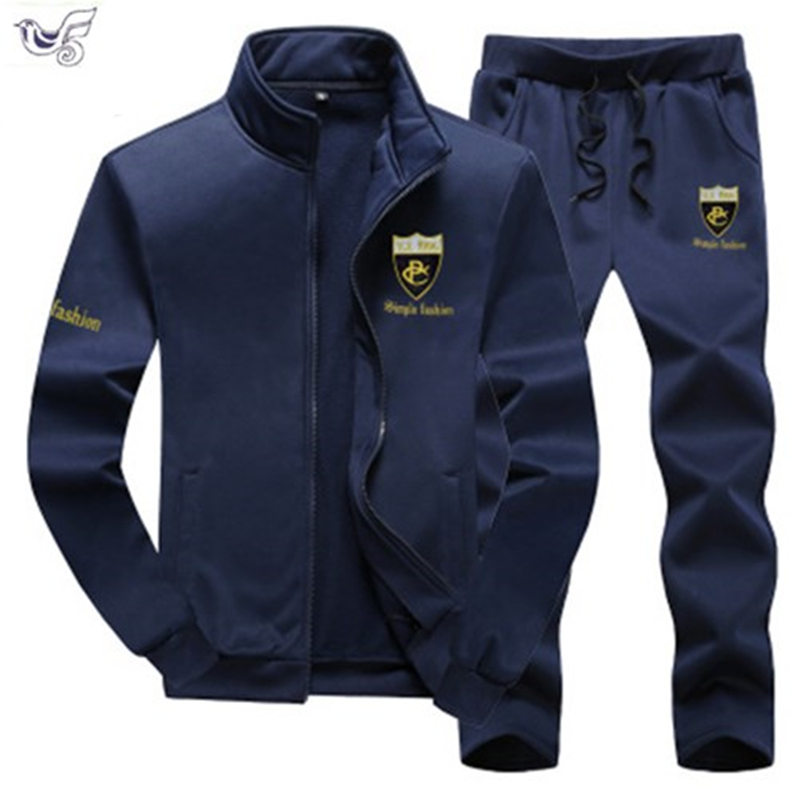 Autumn Men Set Casual Tracksuit Men's Sportswear Slim Fit Sweat Suits Man 2019 Fad Clothing Jacket +Pant Plus Size 7XL 8XL 9XL