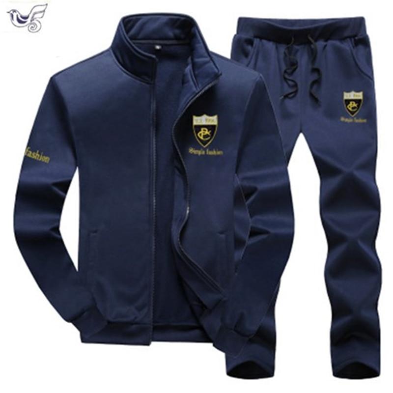 Autumn Men Set Casual Tracksuit Men's Sportswear Slim Fit Sweat Suits Man 2019 Fad Clothing Jacket +Pant Plus Size 7XL 8XL 9XL