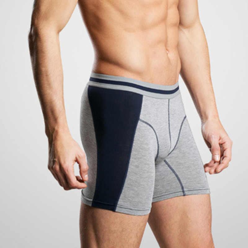 Pria Modal Celana Kaki Panjang Olahraga Pakaian Lembut Boxer Celana Pendek JS26