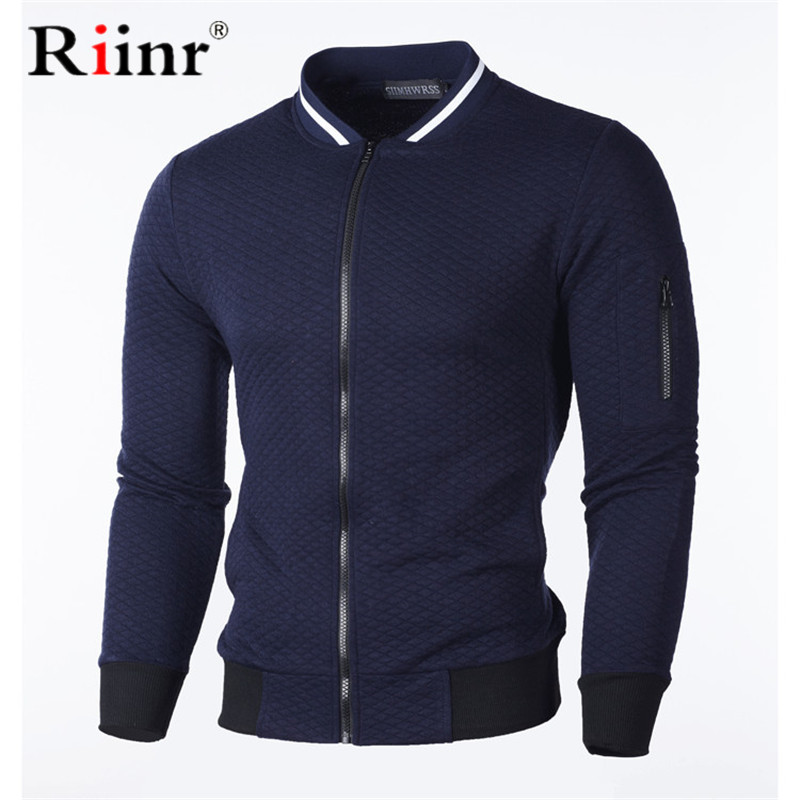 Riinr Brand Men Casual Sweatshirt New Solid Color  Polyester Cardigan Coat Warm Sweatshirt Male Fashion Slim Jacket Plus