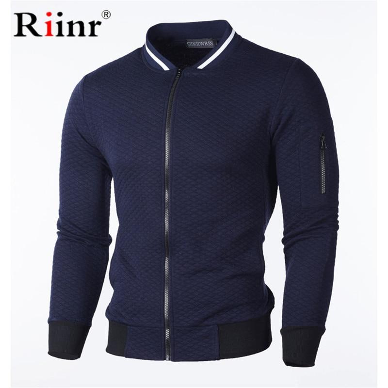 Riinr Brand Men Casual Sweatshirt New Solid Color Polyester Cardigan Coat Warm Sweatshirt Male fashion Slim Jacket Plus(China)