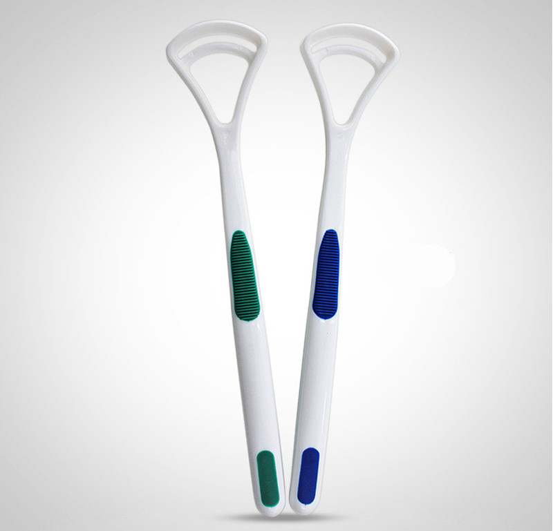 2Pcs Fashion Tongue Cleaner Bad Breath New Hot Away Hand Scraper Brush Silica Handle Oral Hygiene Dental Care Cleaning