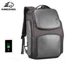 Kingsons ulepszony plecak z panelem słonecznym szybki plecak USB do ładowania 15.6 cali plecaki na laptopa mężczyźni TraveBag męski fajny Mochila