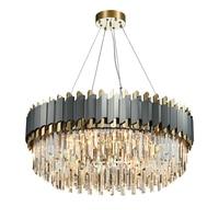 FÜHRTE Kunst Deco Schwarz Goldene Edelstahl Kristall Kronleuchter Hängen Lampe Beleuchtung Lustre Kronleuchter Leuchte Für Foyer