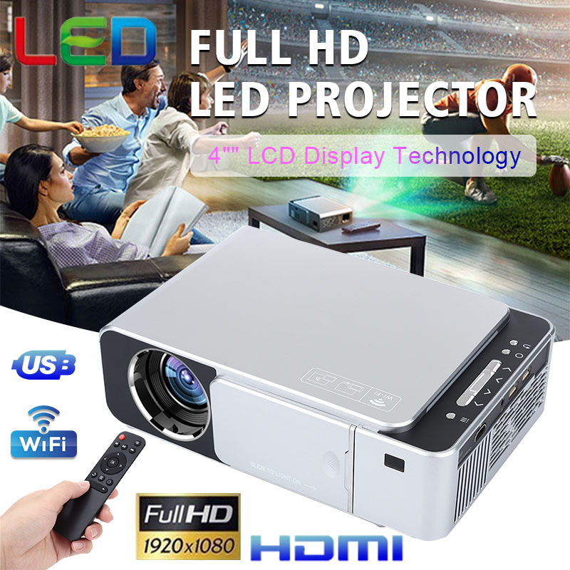 NEW T6 Full HD Lled Projector 4K 3500 Lumens HDMI USB 1080p Portable Cinema Proyector Beamer Home Smart WIFI Projector image