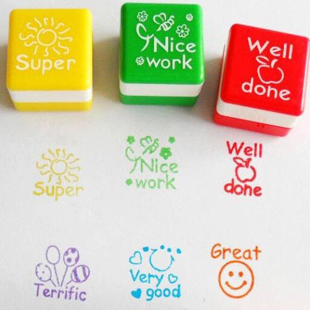 6 Styles SET Kawaii Cute Teachers Stampers Inking Praise Reward Stamps Motivation Sticker School Supplies Dropshipping in Stamps from Home Garden