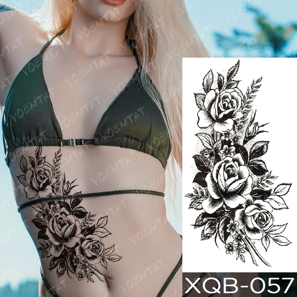 Waterproof Temporary Tattoo Sticker Snake Flower Rose Flash Tattoos Lace Fox Lion Tree Body Art Arm Fake Sleeve Tattoo Women 3