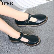 2020 รองเท้าผู้หญิงรอบ Toe ปั๊มฤดูใบไม้ผลิใหม่รองเท้าส้นสูง Chunky Mary Jane Causal สุภาพสตรีรองเท้าส้นหนาสีขาวสีชมพูสีดำ 34 43