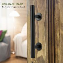 купить Stainless Steel Door Handles for interior doors Barn Door Closet Pull Handle Black Heavy Duty Carbon Steel Sliding Barn Door Pul дешево