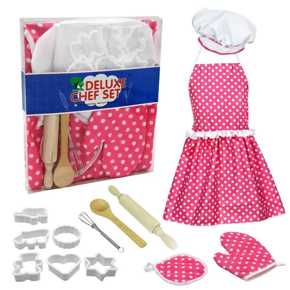 ילד תפקיד משחק צעצוע סט מלא ילדים בישול אפיית צעצוע סט תפקיד לשחק מטבח כלי אפיית כלים עוגת סינר