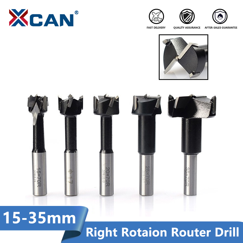 XCAN 1pc 15-35mm 4 Flutes Router Drill Bit Right Rotation Core Drill Bit Row Drilling Bit For Boring Machine Wood Hole Cutter