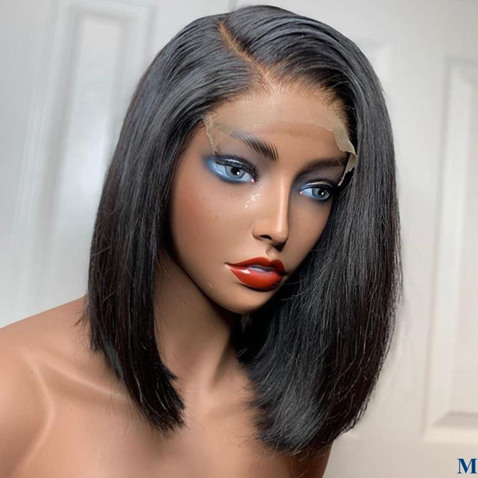 Brazilian Human Hair Bob Straight 4x4 Lace Closure Wigs For Black Women Pre Plucked Short Bob 180Density Lace Wigs Baby Hair