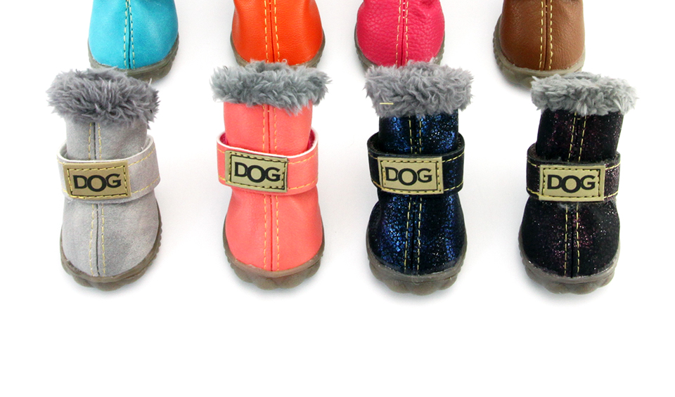 Winter Pet Dog Shoes Warm Snow Boots Waterproof Fur 4PcsSet Small Dogs Cotton Non Slip XS For ChiHuaHua Pug Pet Product PETASIA 1