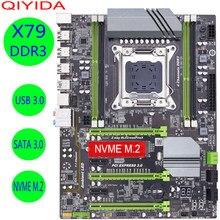 Qiyida x79 turbo placa-mãe lga2011 atx usb3.0 sata3 pci-e nvme m.2 ssd suporte reg memória ecc e xeon e5 processador