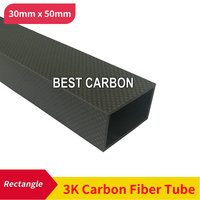 Rectangle shape 30mm x 50mm x 1000mm , thickness 2mm ,High Quality 3K Carbon Fiber Fabric Wound/winded Tube