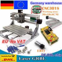 Machine de routeur à CNC bricolage, 3018 contrôle GRBL bricolage 30x18x4.5 cm, 3 axes, fraiseuse en Pvc pour le bois, gravure laser