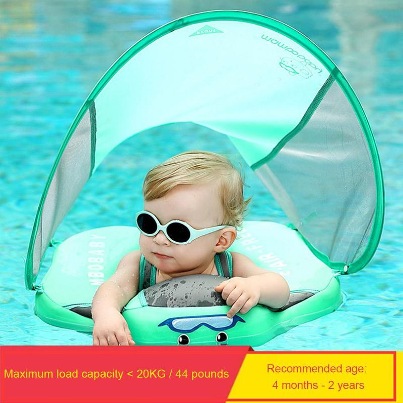 Kids Baby Swimming Rings With Awning Baby Tube Solid No Inflatable Safety For Baby Swimming Accessories Floating Swim Ring