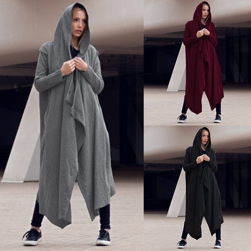 Women Vintage Hooded Long Jackets Celmia 2020 Autumn Winter Coats Casual Loose Knitted Asymmetrical Hoodies Outwear Plus Size 7