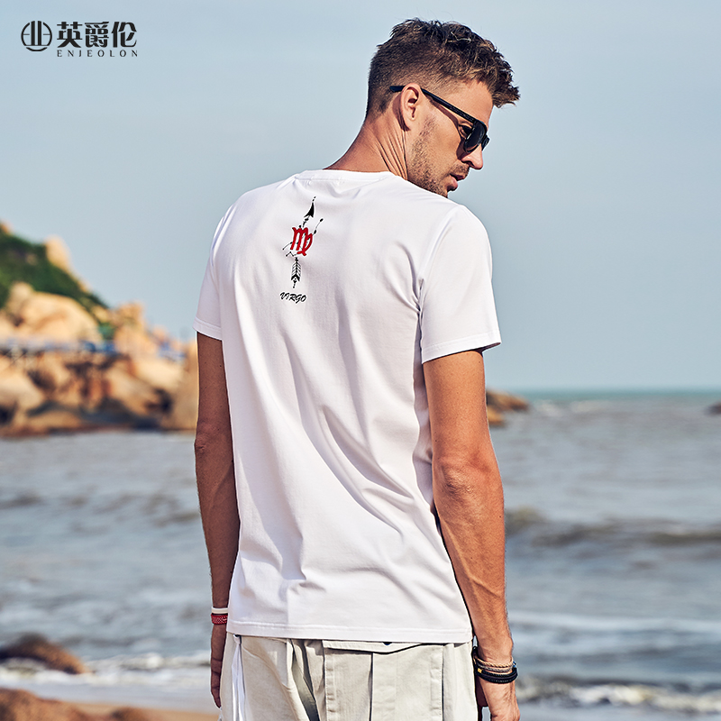 Enjeolon 2020 New Summer T Shirt Men Short Sleeved O-neck Cotton Print Embroidery Slim Casual Male Fashion Top Tees T7465