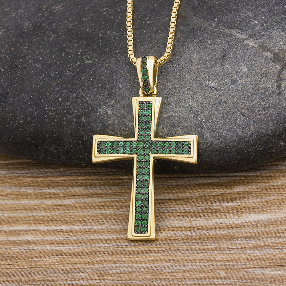 Fashion Cross Design Cubic Zirconia Choker Necklace Crystal Pendant Gold Chain Charm Necklace Copper Christian Religion Jewelry