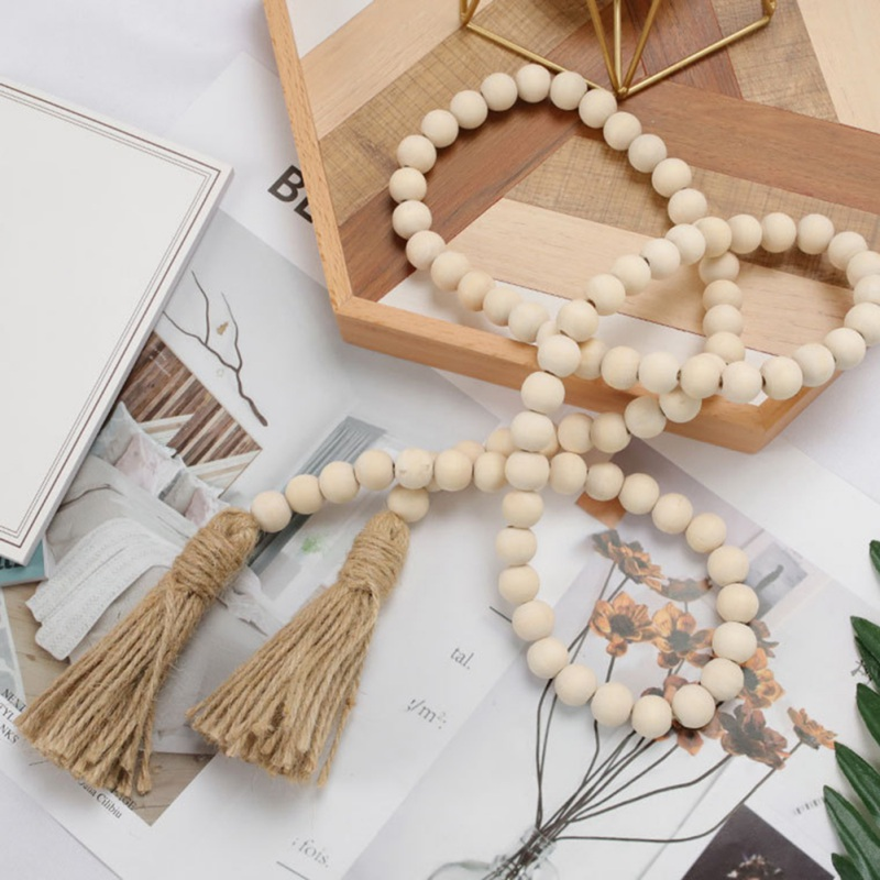 Nordic Wood Bead Garland with Tassels Farmhouse Beads Rustic Country Decor Kid Room Wall Hanging Ornament Home Decor
