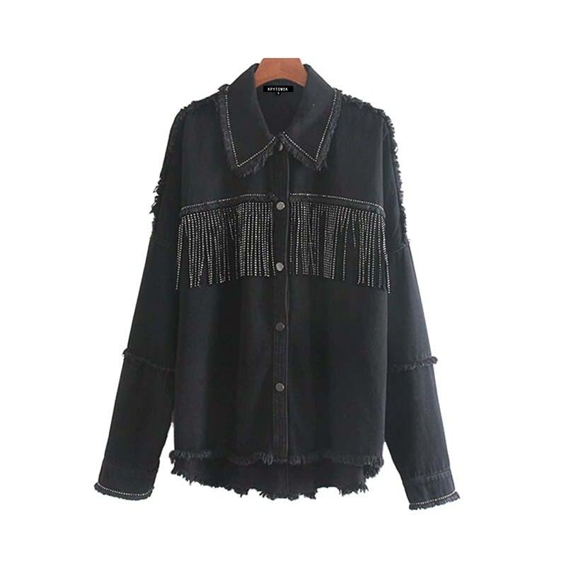 H3c2288c78922436493ba7a6e0ebc8f7bp Vintage Stylish Fringe Beaded Oversized Jacket Coat Women 2019 Fashion Long Sleeve Frayed Trim Ladies Outerwear Chaqueta Mujer