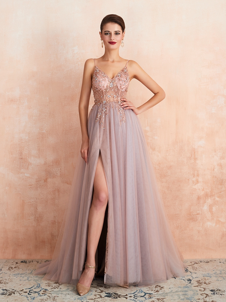 Prom-Dresses Evening-Gown See-Through Pink Plus-Size Beaded Elegant Split V-Neck Long