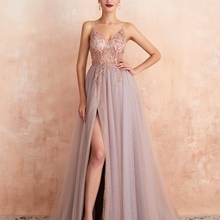 Prom-Dresses Beaded Evening-Gown Tulle See-Through Elegant Pink Long Plus-Size Split
