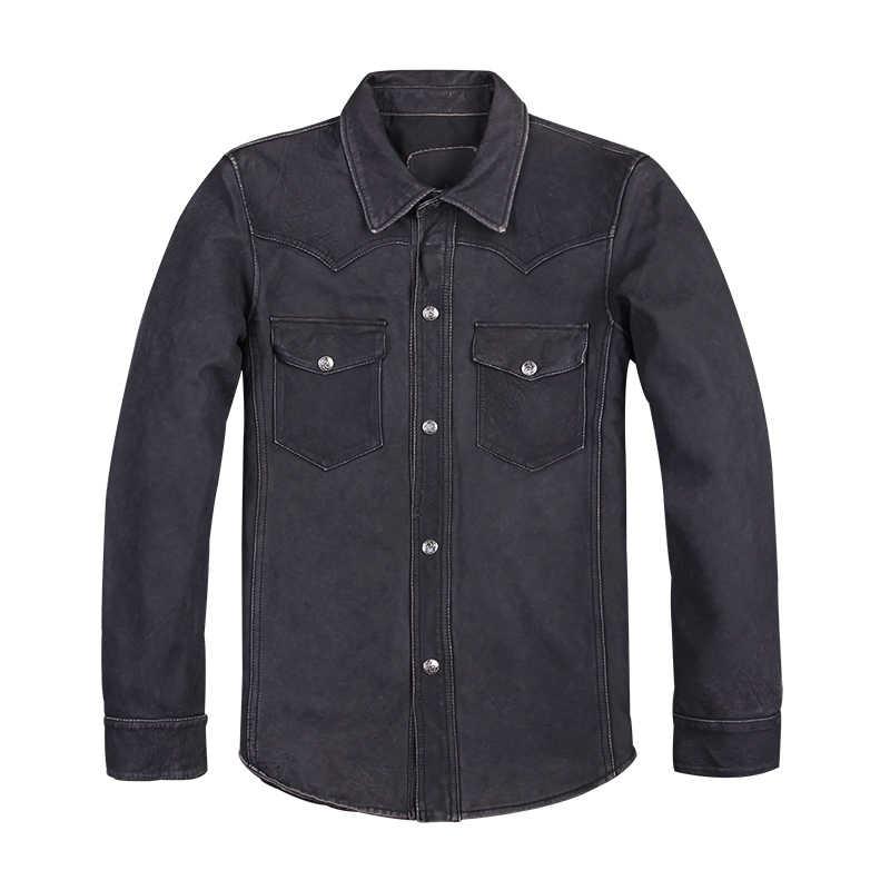 2020 Negro hombres Delgado ajuste estilo europeo camisa de cuero Casual de talla grande XXXL genuino fino piel de oveja primavera moda abrigo de cuero