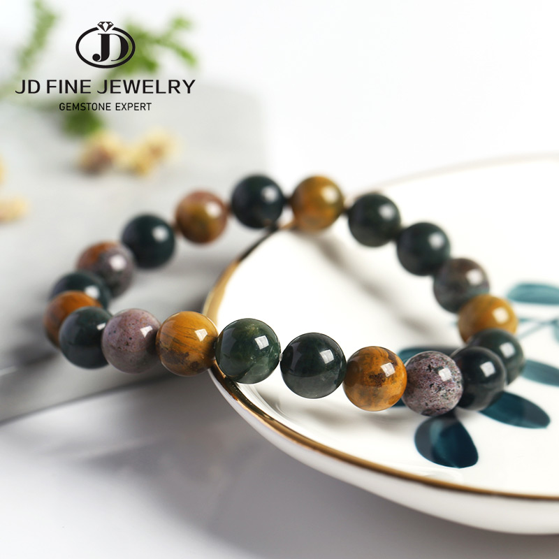 JD 4-12MM Natural Ocean Stone Shinny Beads Strand Bracelets Women Charm Bracelet dropshipping Bracelet Women Jewelry