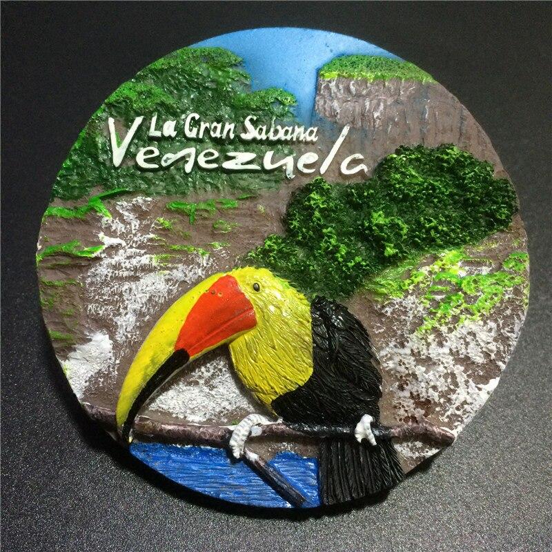 3D DIY Fridge Magnet Dubai Venezuela World Tourism Memorial Fridge Magnet Resin Toucan Animal Message Board Refrigerator Sticker