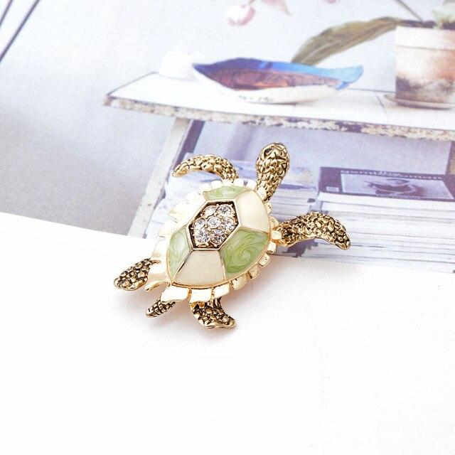 CINDY XIANG-broches de diamantes de imitación de tortuga para mujer, Pin de esmalte Vintage, accesorios de Pin de Animal de moda, joyería creativa 4
