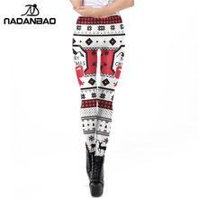 Cosplay Pants Fashion Women NADANBAO Leggings Mid-Waist 3d-Print Christmas Fitness Winter