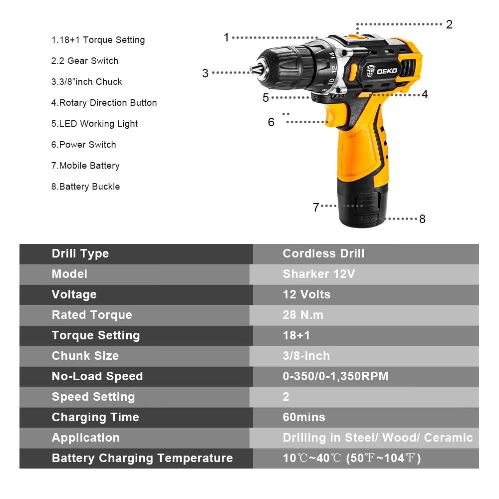 DEKO New Arrival Banger 12V DC Cordless Drill LED Mini Wireless Power Driver Home DIY Electric Screwdriver Practical Power Tool Pakistan