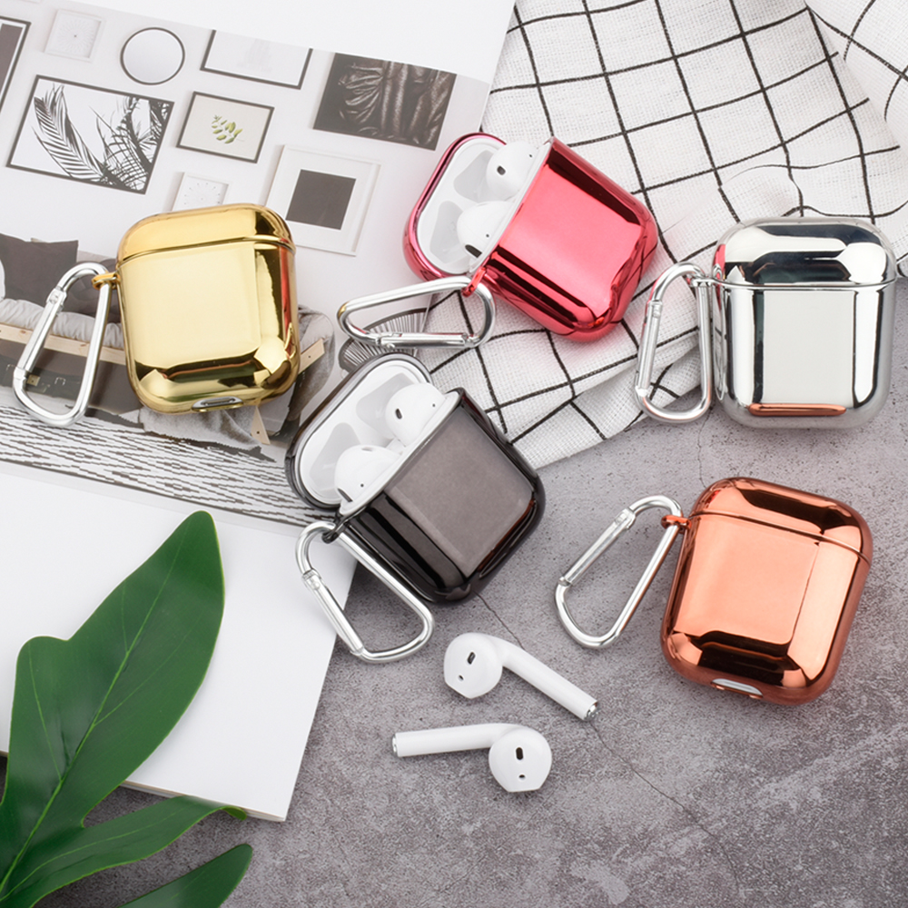 Gold Electroplated Hard PC For Apple AirPods 1 Cases Cover Wireless Headphones Accessories For Airpods 2 Color Earphone Cases