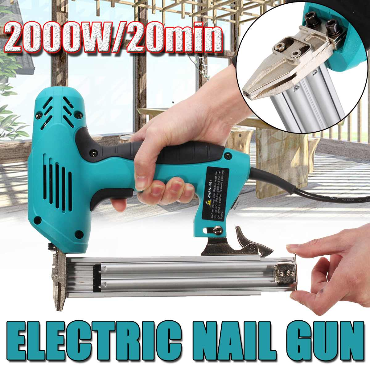 Doersupp 10-30mm Electric Straight Nail-Gun Heavy-Duty Woodworking Tool Electrical Staple Nail 220V 2000W