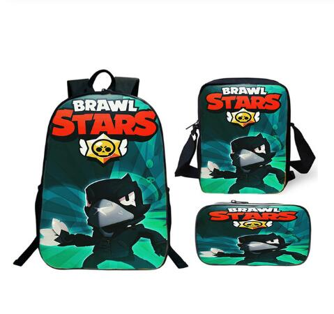 New 3pcs/set Hot Game Brawl Stars Backpack Students Girls Boys Kids Teens Surprise Gift School Book Bag Functional Rucksack