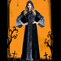 Halloween Female Death Dress Terror Skull Role Playing Suit Cloak Stage Costume for Women TY53