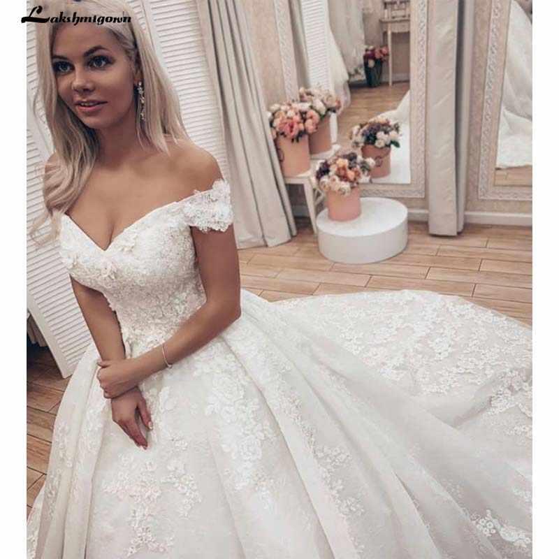 Elegan Putih Garis Renda Appliques Penyiangan Gaun Off Bahu Satin Pernikahan Gaun Putri Pernikahan Gaun Plus Ukuran Sukienki