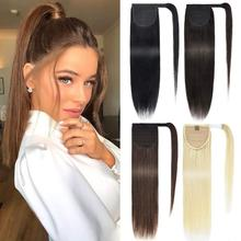 Long straight Real Natural Pony tail Clip in Pony tail Hair Extensions Wrap Around on Synthetic Hair Ponytail