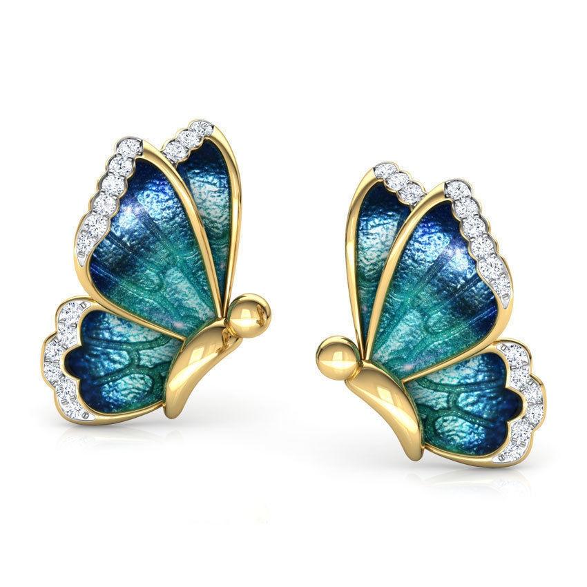 FDLK Oil Painted Butterfly Stud Earrings Rhinestone Wild Animal Female Women Birthday Party Jewelry Girls Best Gift 3 Colors
