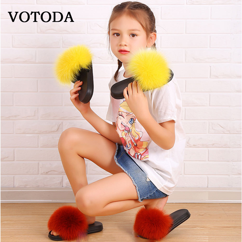 Children Fur Slippers Kids Fur Slides Real Fox Slippers Fluffy Raccoon Sandals Flat Indoor Slippers Cute Baby Girls Plush Shoes