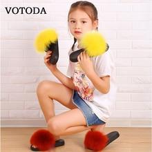 Fur Slippers Sandals Plush-Shoes Slides Fluffy Baby-Girls Kids Children Raccoon Flat