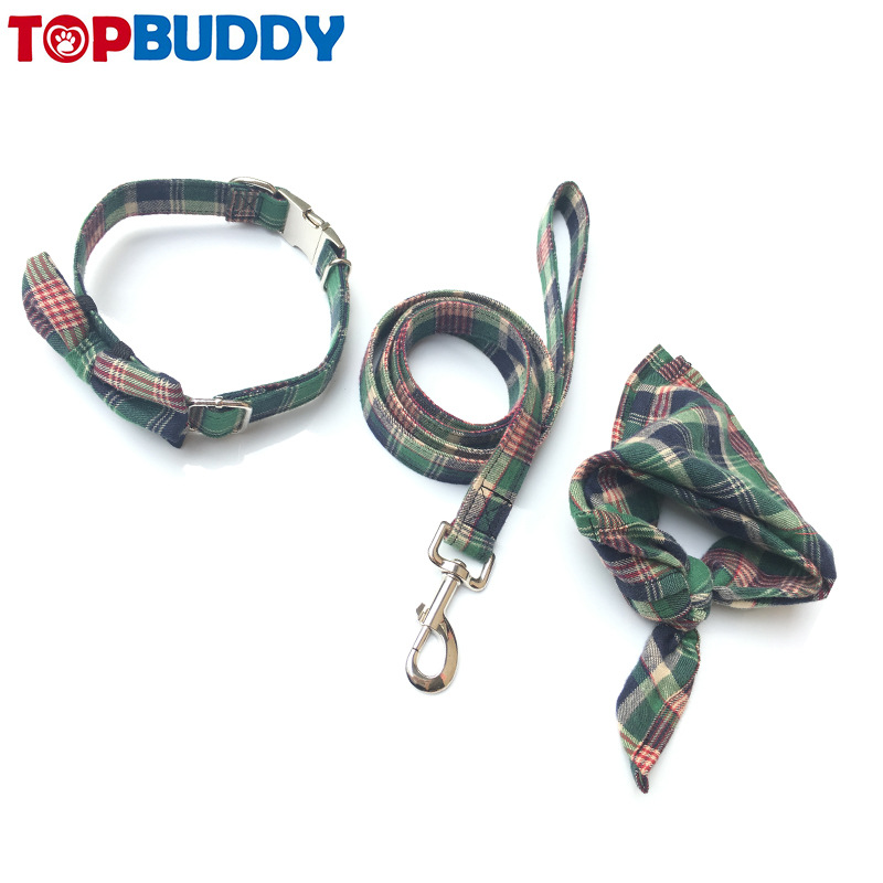 England Plaid Pet's Saliva Towel Triangular Binder Cat Dog Collar Bowtie Dog Traction Belt Release Buckle Dog Collar