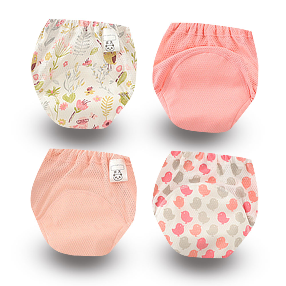 4Pcs/lot New Baby Potty Training Pants Boy Girl Cotton Underwear Underpants For Toddler Learning Panties Reusable Washable